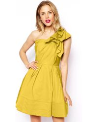 Asos One Shoulder Origami Ultra Full Skater Dress - Lyst