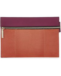 Victoria Beckham - Small Lizard and Leather Zip Pouch - Lyst