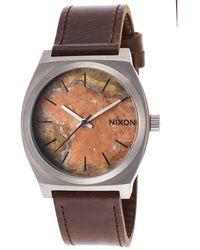 Nixon Mens Time Teller Dark Brown Genuine Leather Oxyde Dial - Lyst