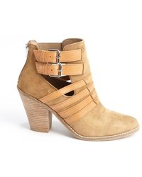 Dv By Dolce Vita Cognac Suede Leather Accent Caitlynn Ankle Boots - Lyst