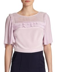 Rebecca Taylor Pleated Silk Cropped Top - Lyst