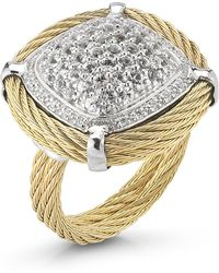 Charriol White Sapphire Pave Cable Ring Size 65 gold - Lyst