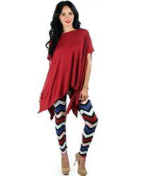 Fashion Club USA - Printed Fleece Leggings - Lyst
