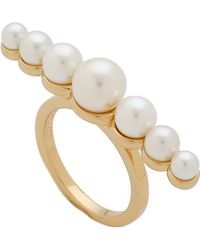 Rachel Zoe - Sophia Imitation Pearl Bar Ring - Gold/Pearl - Lyst