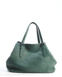 Bottega Veneta Mint Leather Intrecciato Top Handle Tote Bag - Lyst