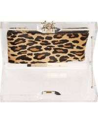 Charlotte Olympia Transparent Perspex and Calf_hair Pandora Box Clutch - Lyst