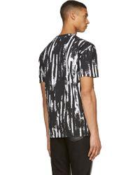 McQ by Alexander McQueen Black Distorted Stripe T_shirt - Lyst