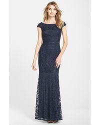Tadashi Shoji Textured Lace Mermaid Gown - Lyst