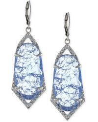 Vince Camuto - Silver-tone Crackle Stone Drop Earrings - Lyst