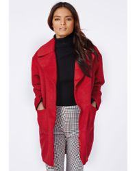Missguided Lena Cocoon Sleeve Coat Red - Lyst