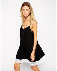 Asos Swing Dress with Lace Hem - Lyst