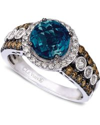 Le Vian Blue Topaz (2 Ct. T.W.) And White And Chocolate Diamond (3/4 Ct. T.W.) Statement Ring In 14K White Gold - Lyst