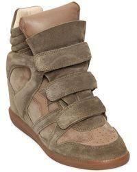 Isabel Marant Etoile 80Mm Bekett Suede Wedge Sneakers - Lyst