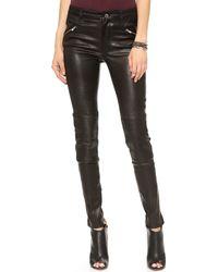 Blk Dnm Stretch Leather Biker Pants 1  Dark Ruby - Lyst