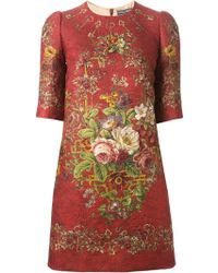 Dolce & Gabbana Floral Print Tunic Dress - Lyst