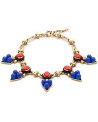 J.Crew Blue Medallion Necklace - Lyst