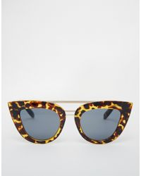 Asos Flat Top Cat Eye Sunglasses With Brow Bar & Nose Bridge brown - Lyst