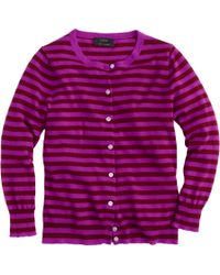 J.Crew Collection Featherweight Cashmere Cardigan In Tonal Stripe purple - Lyst