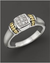 Lagos - 18k Gold And Sterling Silver Square Diamond Ring - Lyst