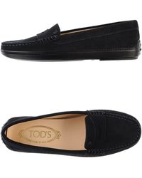 Tod's Blue Moccasins - Lyst