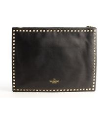 Valentino Black Leather Studded Detail Clutch - Lyst