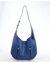 Olivia Harris Blueberry Perforated Leather Hobo Bag blue - Lyst