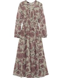 Burberry Prorsum - Pleated Floral-Print Silk Dress - Lyst