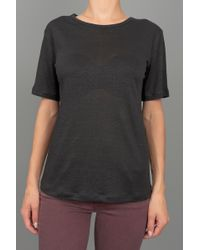 T By Alexander Wang Linen Solid Tee Black - Lyst