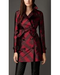 Burberry Check Silk Jacquard Trench Coat - Lyst