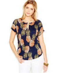 Lucky Brand Jeans Lucky Brand Short-Sleeve Pineapple-Print Top - Lyst