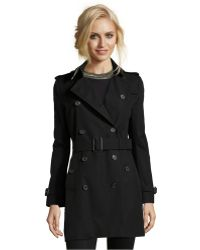 Burberry London Black Woven Buckingham Double Breasted Trench Coat - Lyst