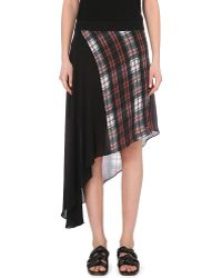 McQ by Alexander McQueen Checked-Panel Silk-Chiffon Skirt - For Women red - Lyst