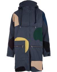 Folk - Navy Cirrus Shapes Zip Panel Parka Jacket - Lyst