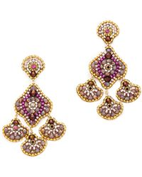 Miguel Ases Scallop Drops Earrings Pink Multi - Lyst