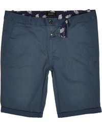 River Island Teal Green Skinny Chino Shorts - Lyst