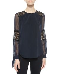 Rebecca Taylor Silk Lace-Inset Blouse - Lyst