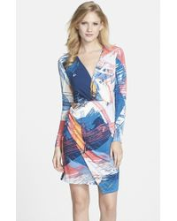 BCBGMAXAZRIA Women'S 'Blayr' Print Jersey Faux Wrap Dress - Lyst