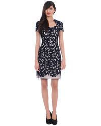 Kay Unger Embroidered Tulle Sheath Dress - Lyst