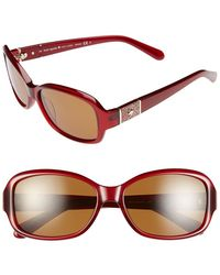 Kate Spade 55Mm Polarized Sunglasses - Milky Red - Lyst