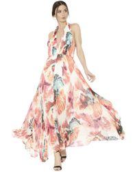Alice + Olivia Clare Halter Neck Pleated Maxi Dress multicolor - Lyst