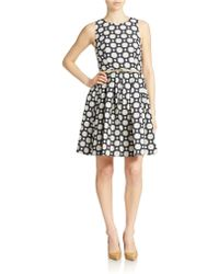 Eliza J Belted Jacquard Fit And Flare Dress - Lyst