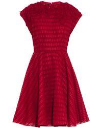 Giambattista Valli Honeycomb-Embroidered Floral Appliqué Dress - Lyst