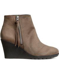 H&M Wedge Heel Boots - Lyst