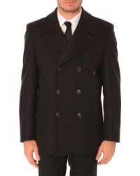 MELINDAGLOSS Classic Navy Blue Wool And Cashmere Pea Coat - Lyst