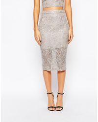 Bardot | Midi Skirt In Metallic Lace | Lyst