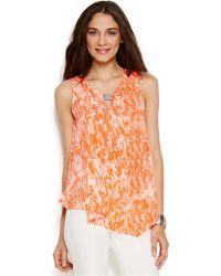 DKNY Sleeveless Printed Cascade Top orange - Lyst