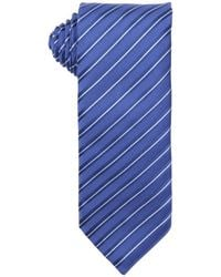 Prada Blue And White Striped Print Silk Tie - Lyst