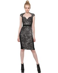 Antonio Berardi Silk Jacquard And Techno Cady Dress - Lyst