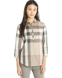 Burberry Pale Trench Beige Check Cotton 3/4 Sleeve Button Front Shirt - Lyst