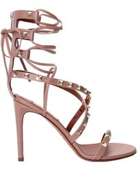 Valentino | Rockstud Lace-Up Sandals | Lyst